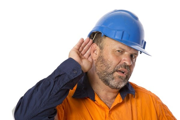 Construction Worker with Hearing Loss Trying to Listen