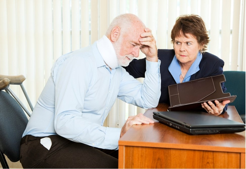 Personal Injury attorney with injured client